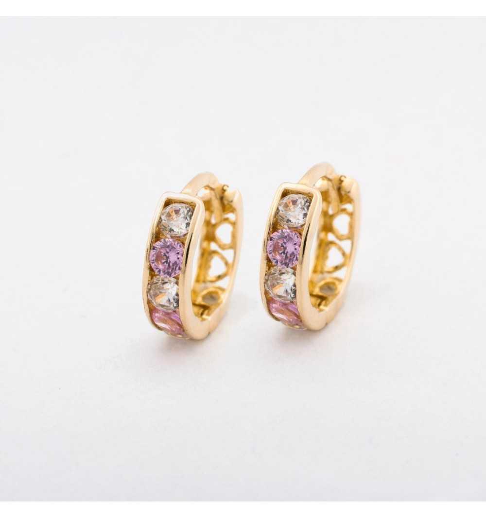 Złote kolczyki koła wysadzane różowymi i białymi cyrkoniami