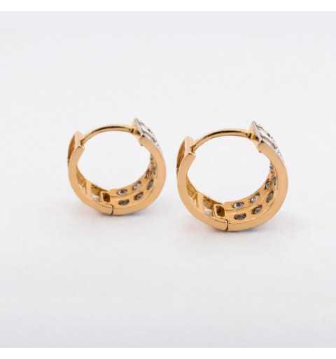 Złote drobne kolczyki wysadzane dwoma rzędami cyrkonii
