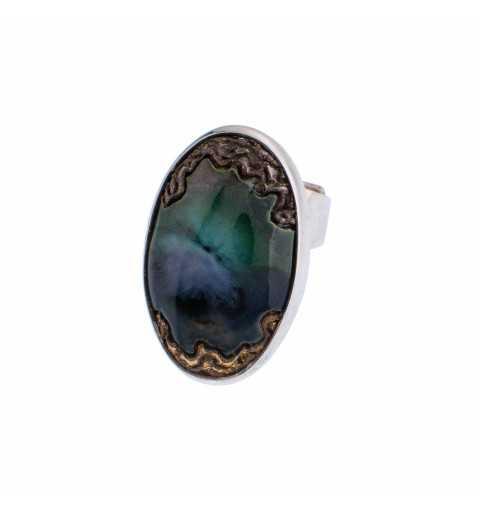 Srebrny duży pierścionek z...