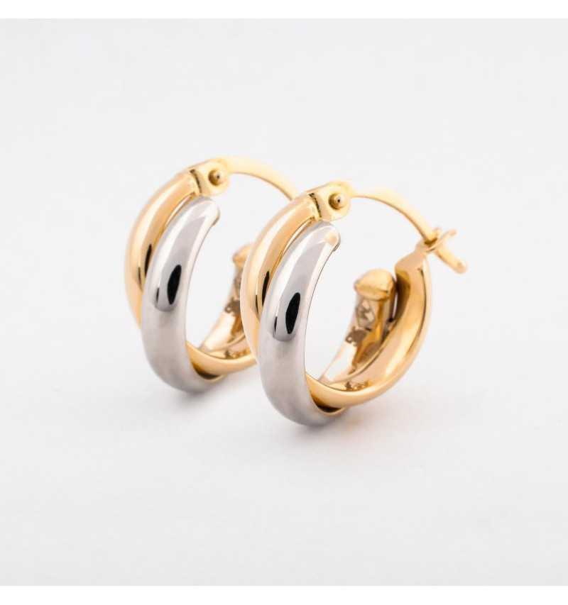 Kolczyki podwójne koła z białego i żółtego złota