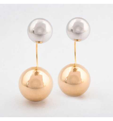 Kolczyki za ucho z białego i żółtego złota
