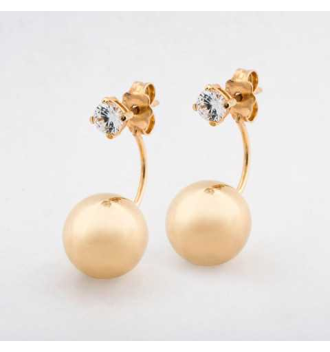 Złote kolczyki za ucho z cyrkoniami