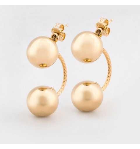 Złote kolczyki za ucho z dwiema kulami