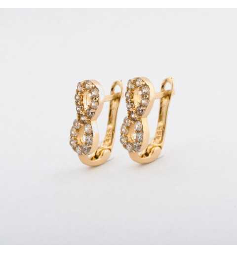 Złote kolczyki nieskończoność wysadzane cyrkoniami
