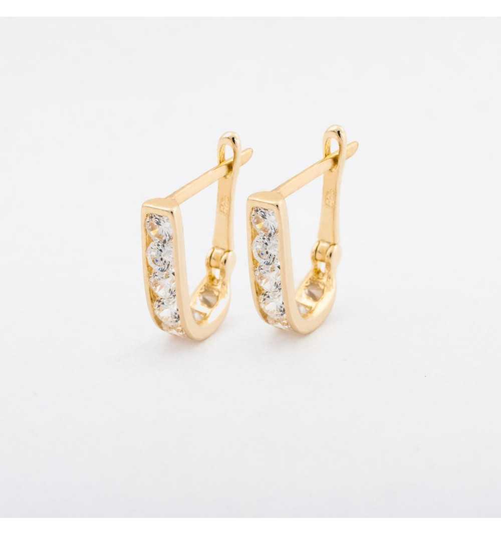Delikatne złote kolczyki z białymi cyrkoniami
