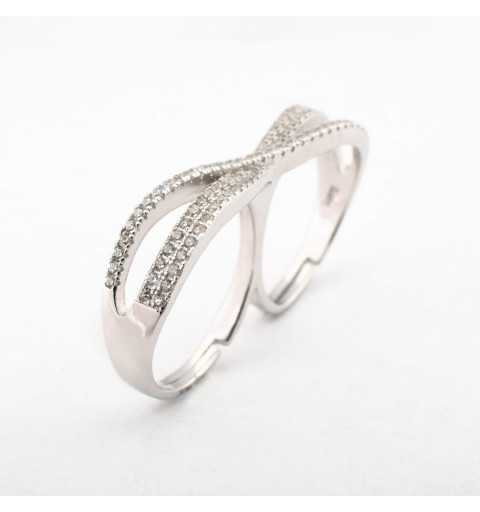Srebrny podwójny pierścionek z regulacją