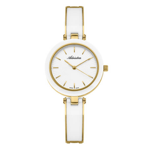 damski zegarek adriatica zegarek na białej porcelanowej bransolecie