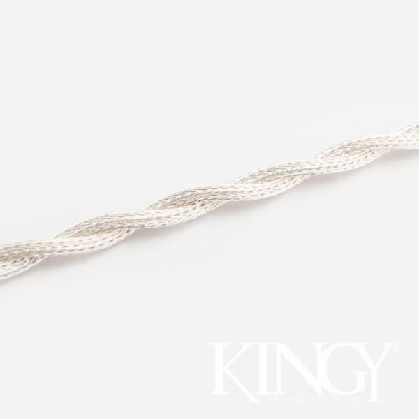 srebrna bransoletka z białego matowego srebra bransoletka zwijana z dwóch linek