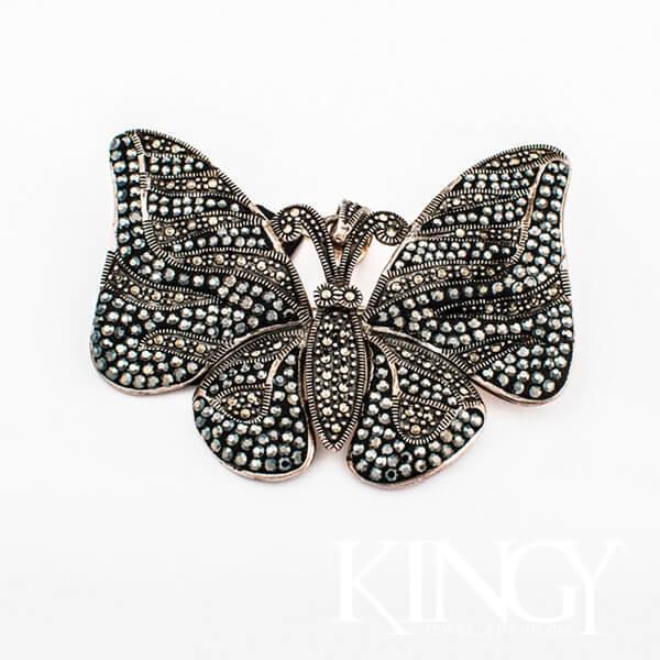 oryginalna srebrna broszka z markazytami w kształcie motyla
